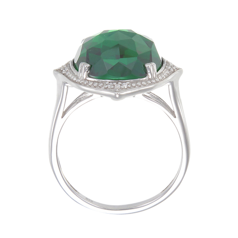 Stunning Cocktail Ring with Green CZ
