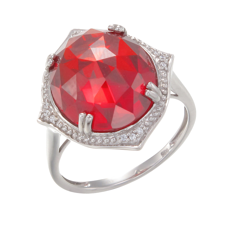 Stunning Cocktail Ring with Red CZ