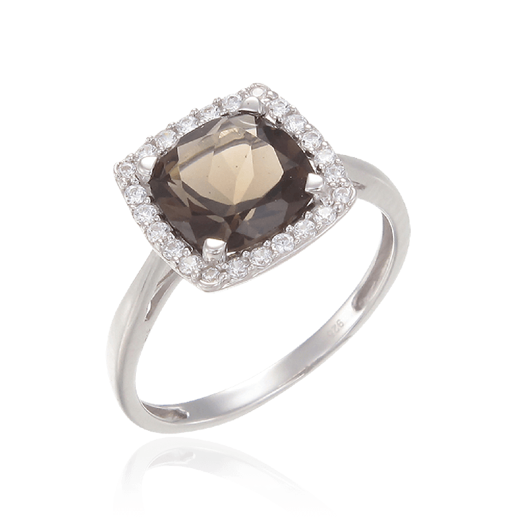 Sophisticated Luscious Natural Smoky Quartz Ring with Halo