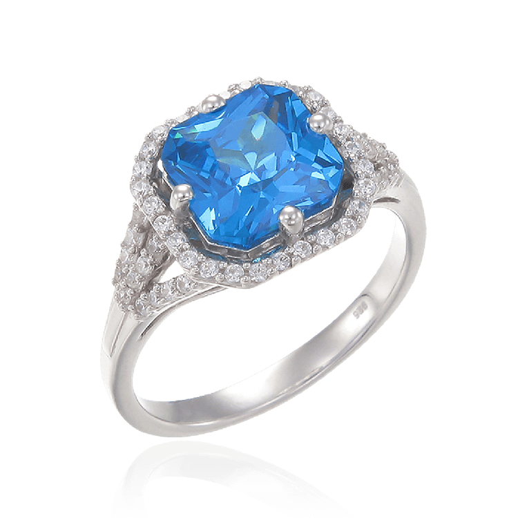 Elegant Sparkling Blue Ring with Halo