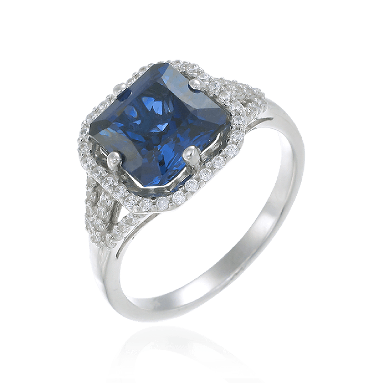Elegant Sparkling Sapphire Blue Ring with Halo