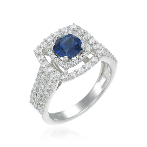 Accented Halo Ring with Sapphire