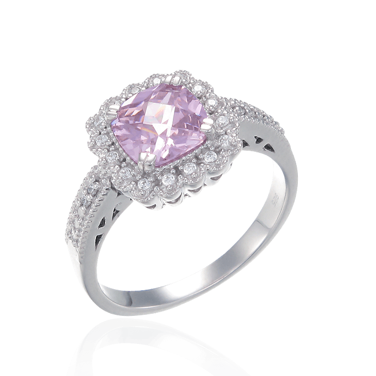 Classic Pink Ring with Accented Setting