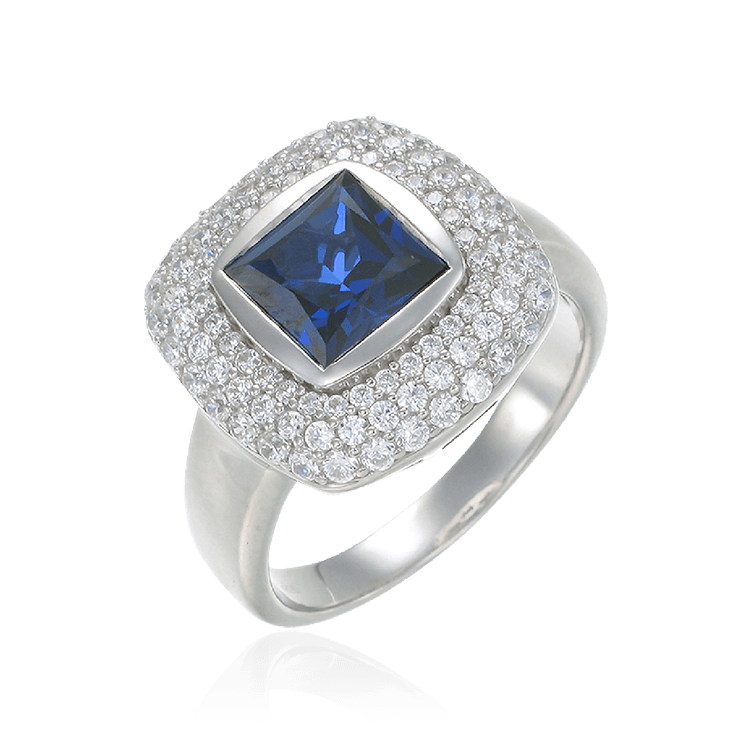 Deco Inspired Sapphire Ring