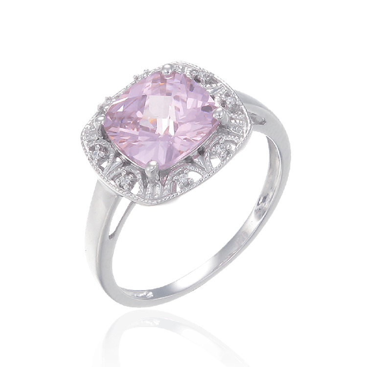 Shimmering Pink Ring with Halo