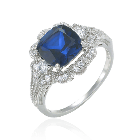 Blue Sapphire Ring with Scalloped Halo