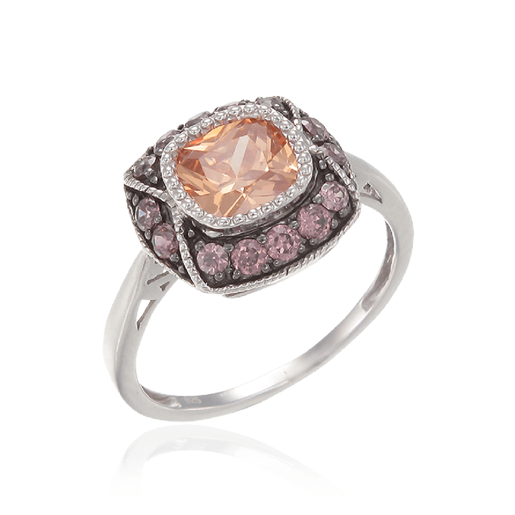 Cloisonne Champagne and Rhodolite Ring