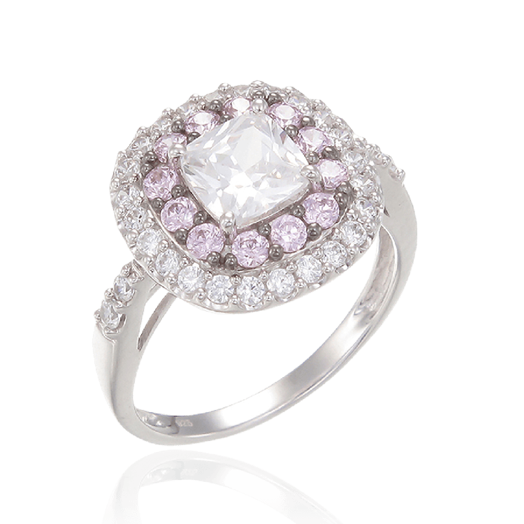 Sparkling Hypnotic White and Pink Ring