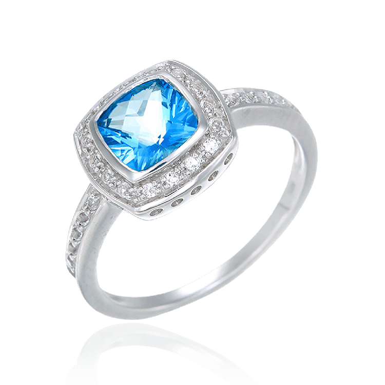 Passion Topaz Bezel Set Ring with Natural White Topaz