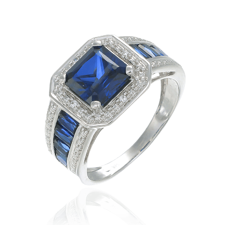 Blue Sapphire Accented Emerald Cut Ring