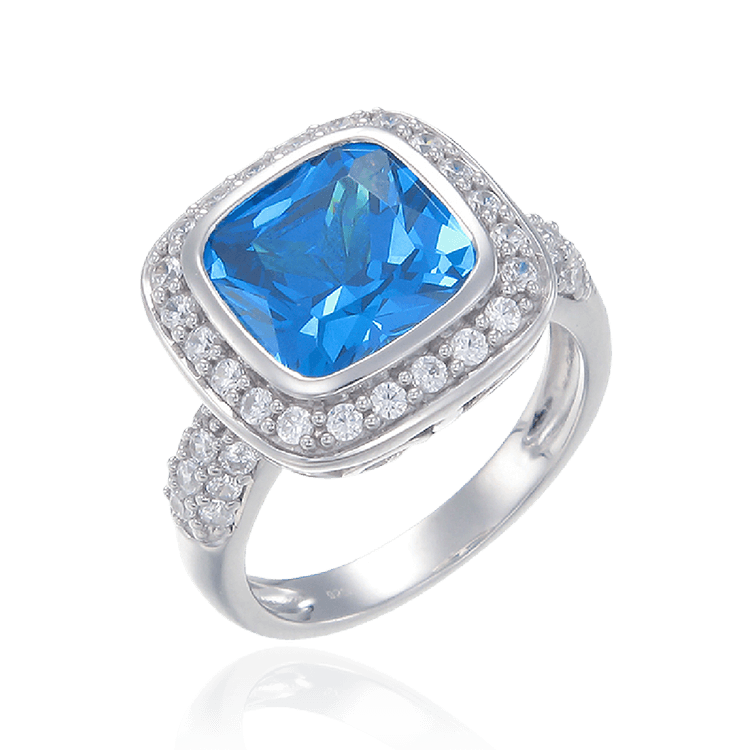 Sparkling Blue Cushion Cut Ring with Halo