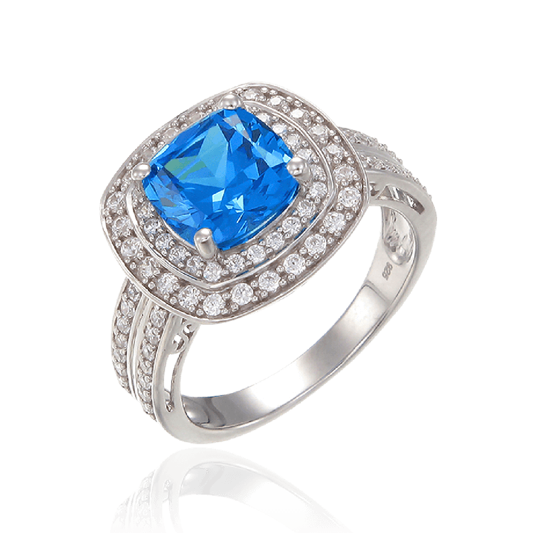 Sparkling Blue Ring with Double Halo
