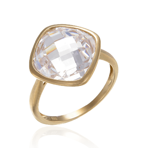 18K Gold Vermeil Sparkling White Ring