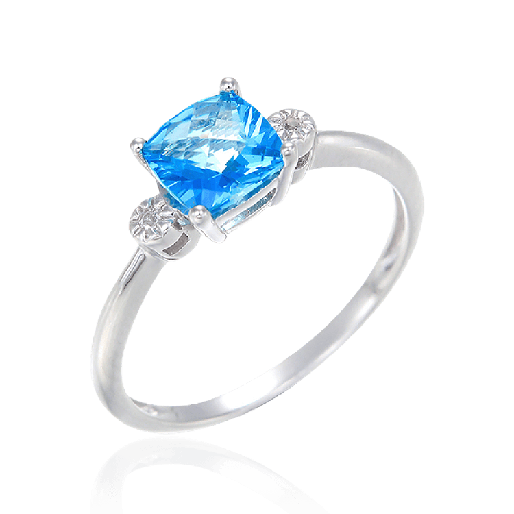 Passion Topaz Sparkling Ring with Natural White Topaz