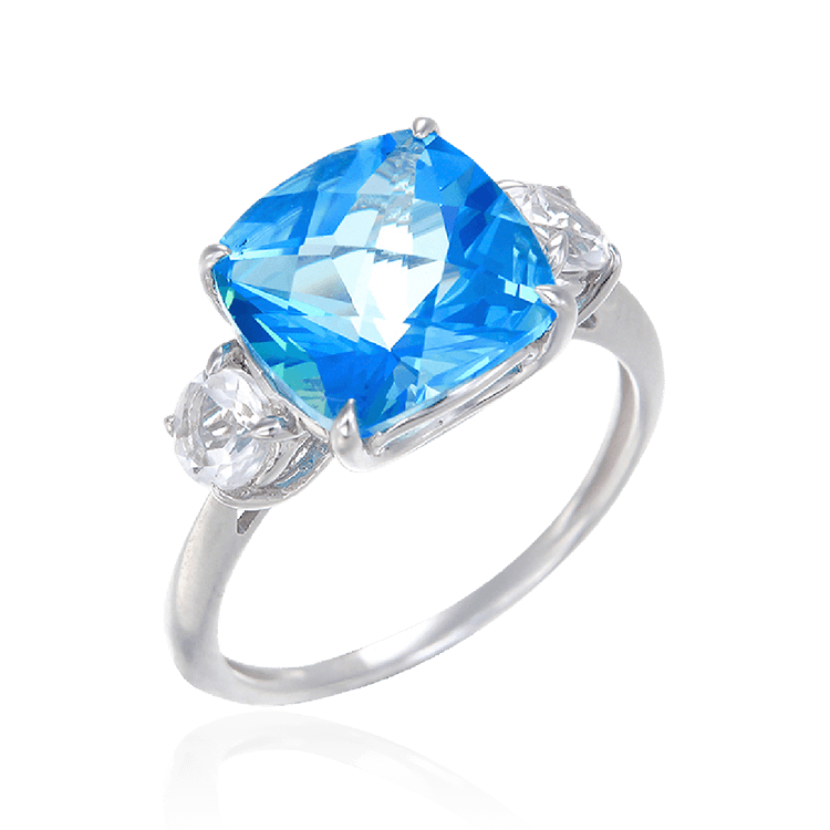 Passion Topaz Sparkling Luscious Ring with Natural White Topaz