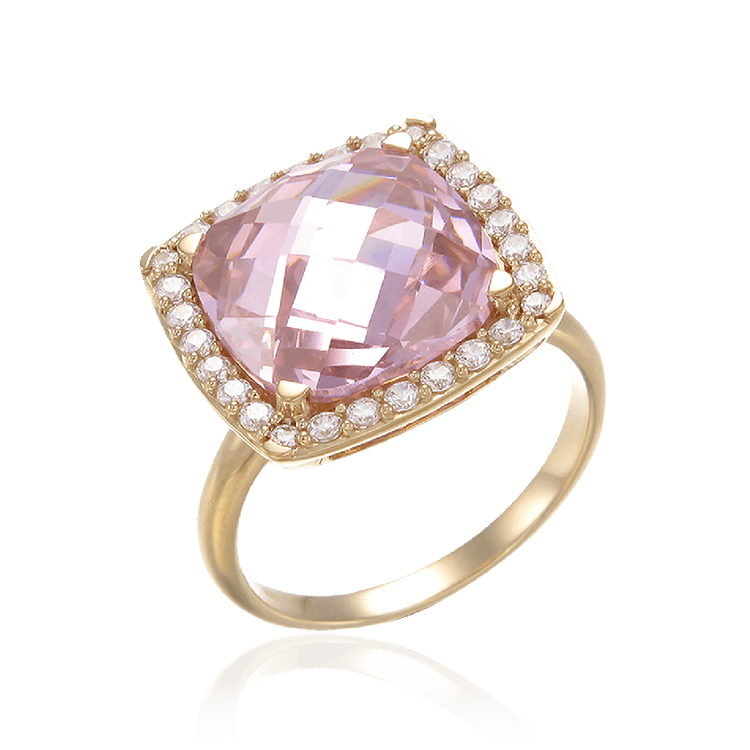 Stunning Cushion Set Pink Cocktail Ring