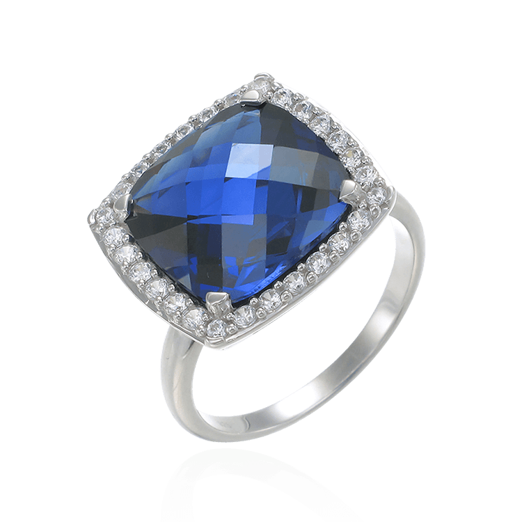 Stunning Cushion Set Blue Sapphire Cocktail Ring