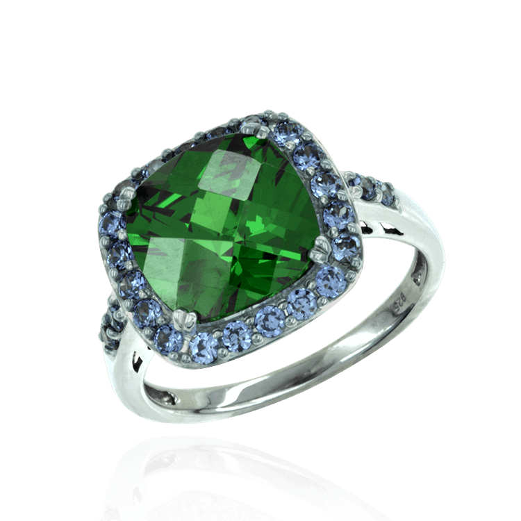 Green Cocktail Ring with Blue Accents