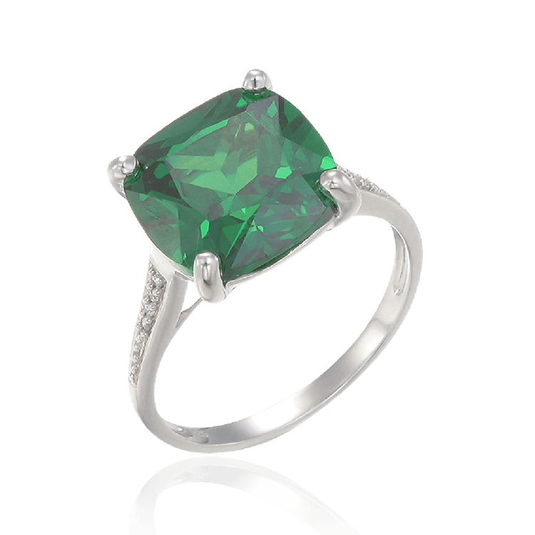 Sparkling Green Emerald Cut Cocktail Ring