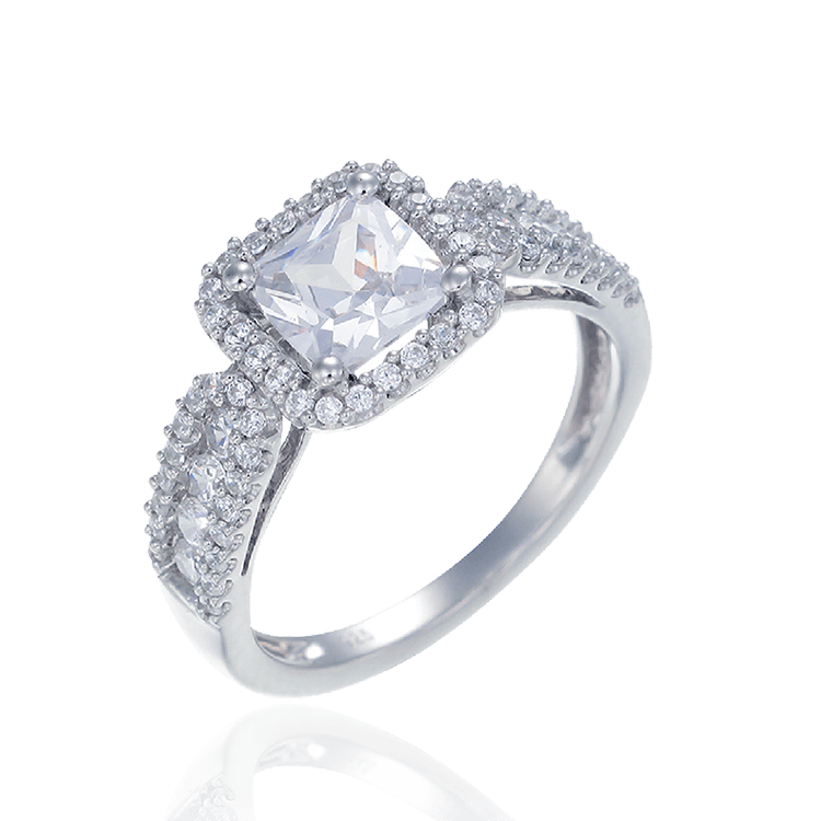 Sparkling Ring with Halo Setting