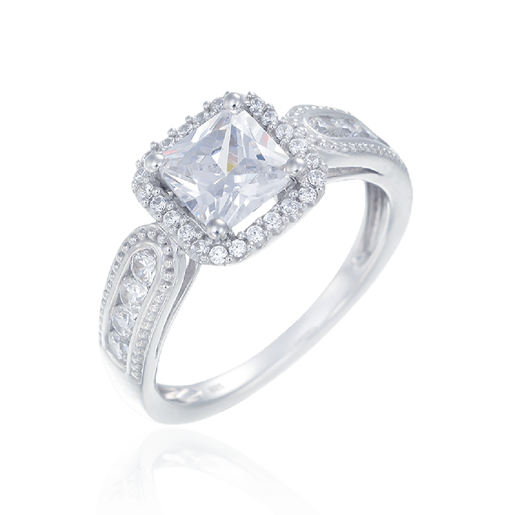 Cushion Cut Ring with Raised Halo Setting