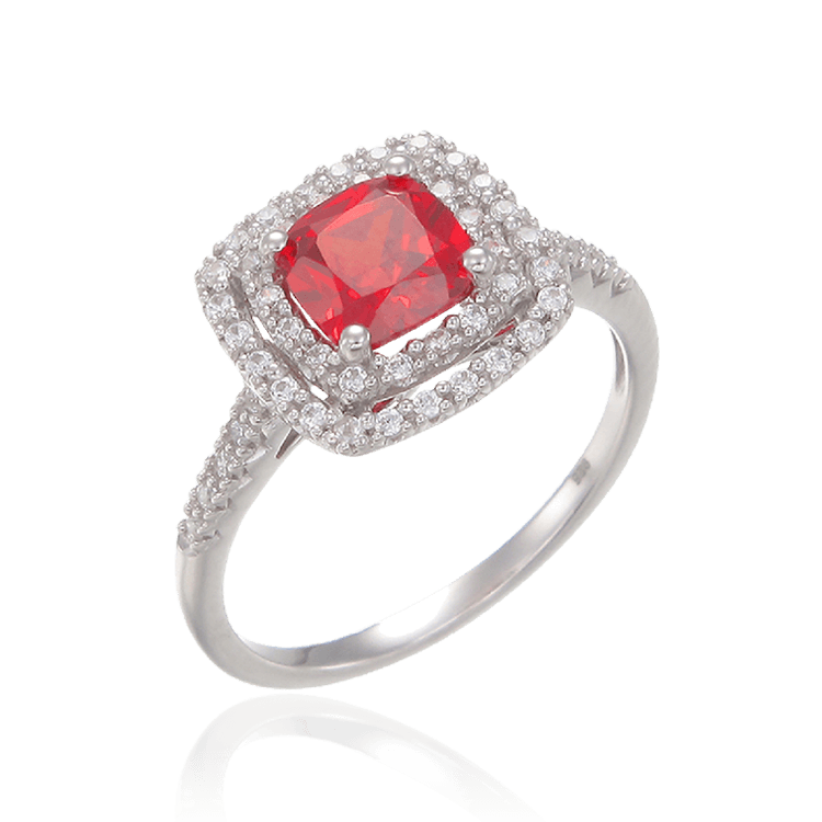 Raised Double Halo Passion Red Ring