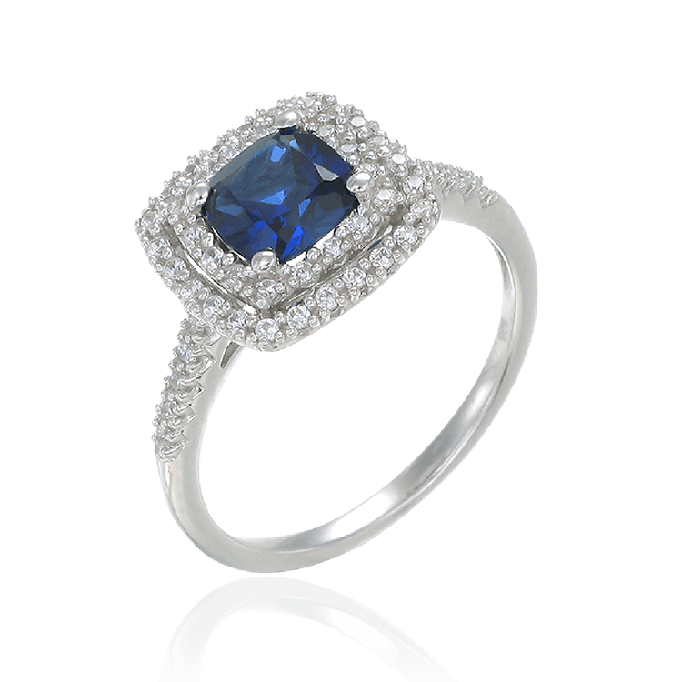 Raised Double Halo Blue Sapphire Ring