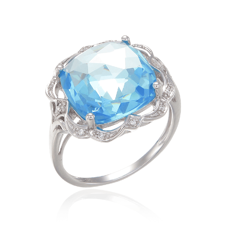 Graceful Sparkling Blue Cocktail Ring