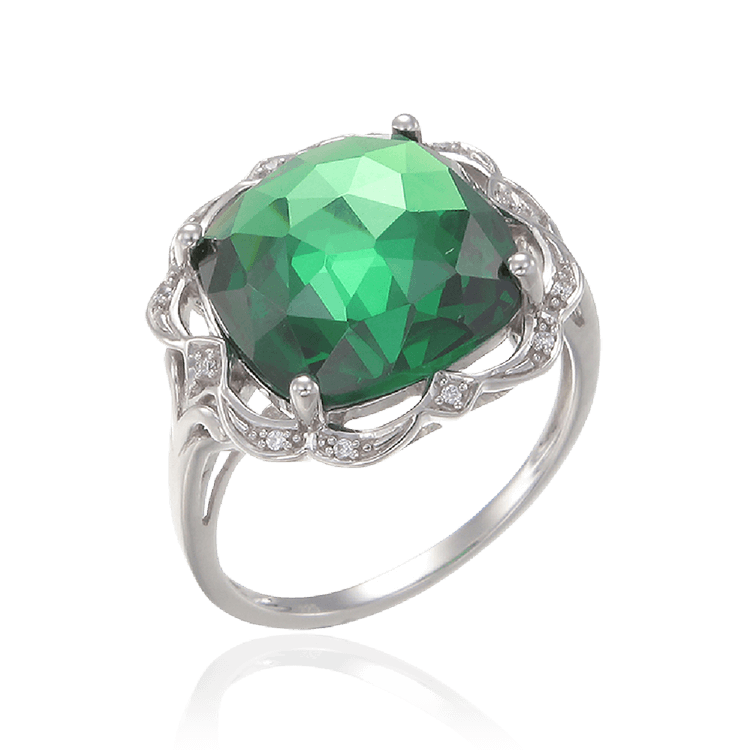 Graceful Sparkling Emerald Green Cocktail Ring
