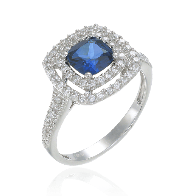 Raised Double Halo Sapphire Ring