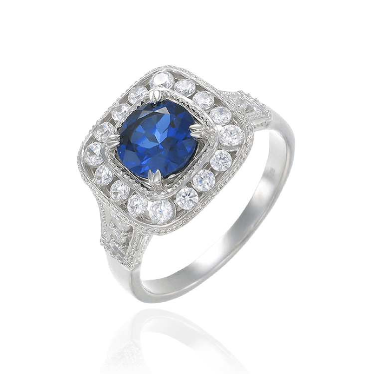 Cushion Set Sapphire Ring with Halo