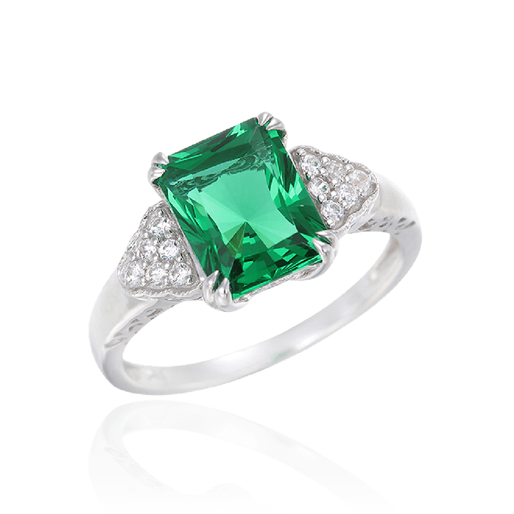 Green Alpinite Emerald Cut Cluster Ring