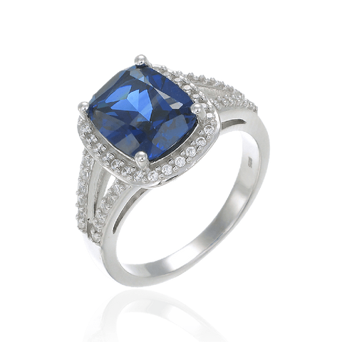 Brilliant Sapphire Cushion Cut Ring