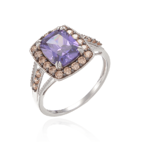 Luscious Vintage Inspired Amethyst, Rhodolite and Champagne Ring