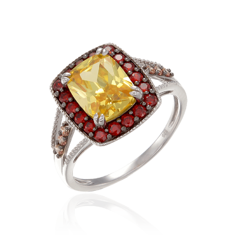 Luscious Vintage Inspired Yellow, Garnet and Champagne Ring