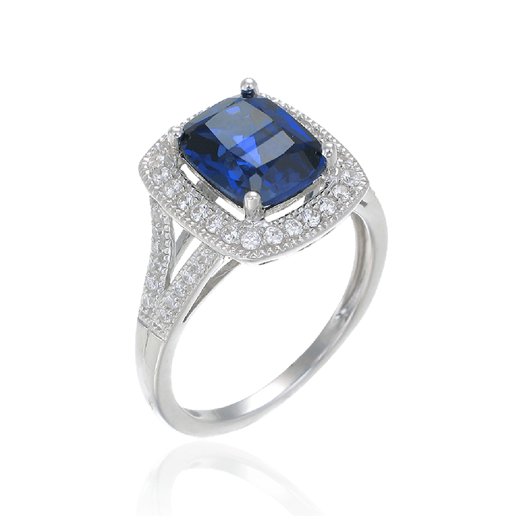 Accented Split Band Sapphire Emerald Cut Ring