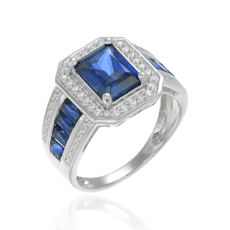 Emerald Cut Sapphire Accented Ring