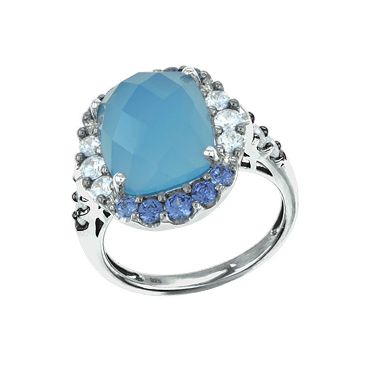 Natural Blue Chalcedony Ring