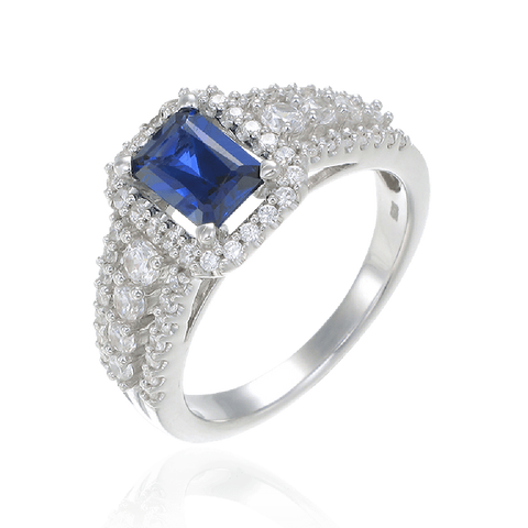 Blue Sapphire Cushion Cut and Pave Ring