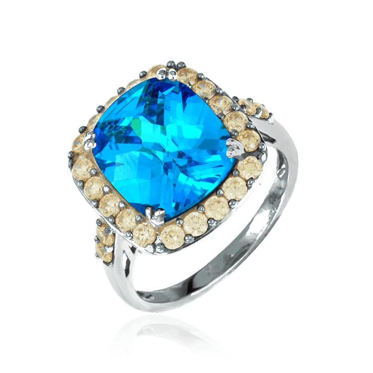 Blue Sparkling Ring with Champagne Halo