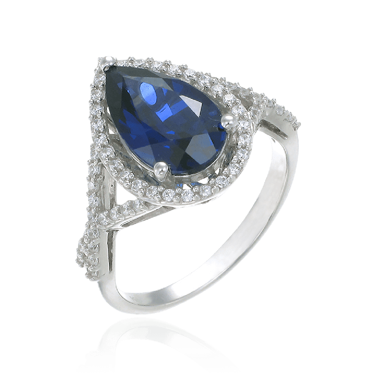 Elegant Teardrop Ring with Blue Sapphire
