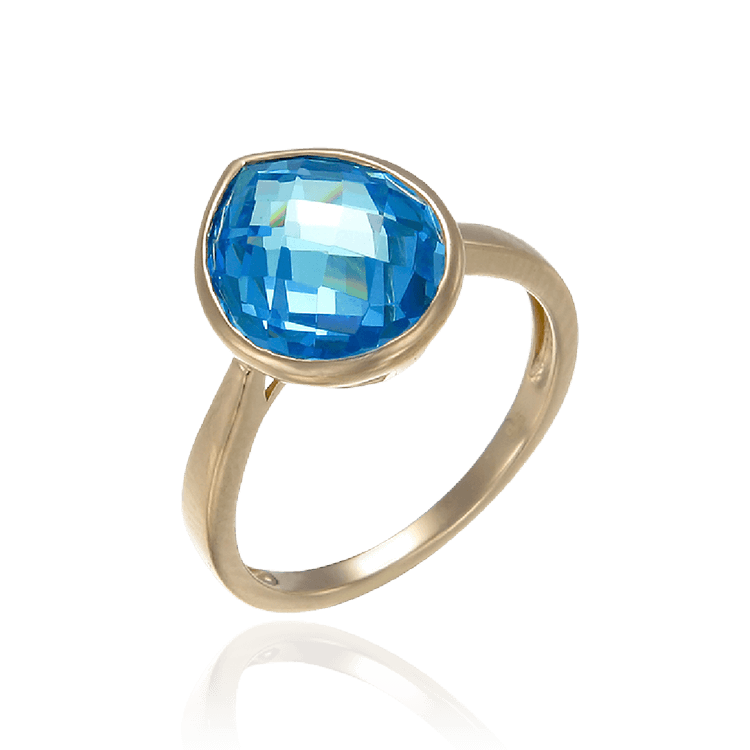 Lustrous 18K Gold Vermeil Blue Drop Ring