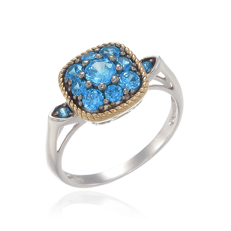Azure Blue Ring with 18K Yellow Gold Finished Rope Detail