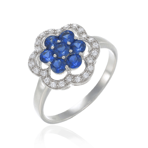 Blue Sapphire Scalloped Edge Ring