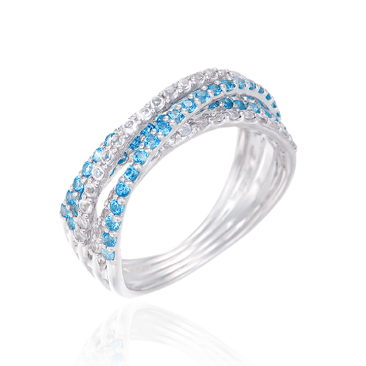 Passion Topaz Four Crossed Band Ring with Natural White Topaz