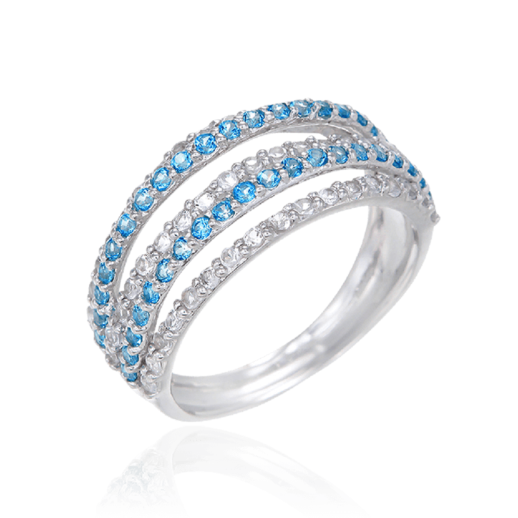 Passion Topaz Four Band Ring with Natural White Topaz
