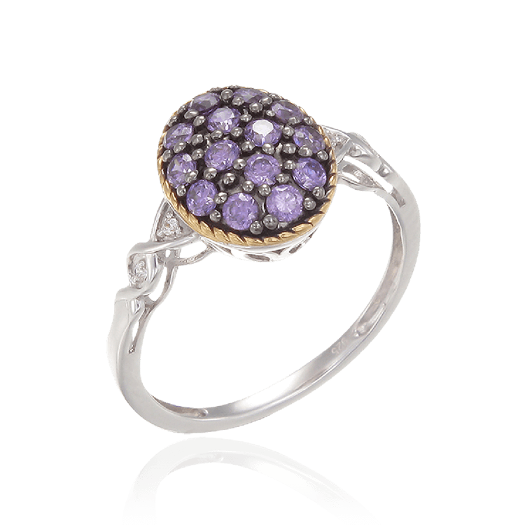 Amethyst Oval Ring with 18K Yellow Gold Finished Rope Detail