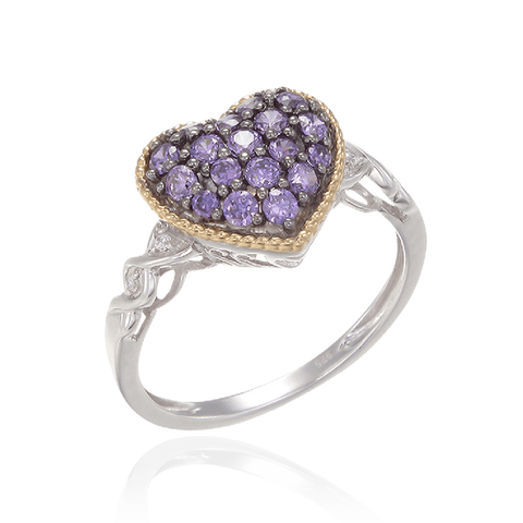 Amethyst Heart Ring with 18K Yellow Gold Finished Rope Detail