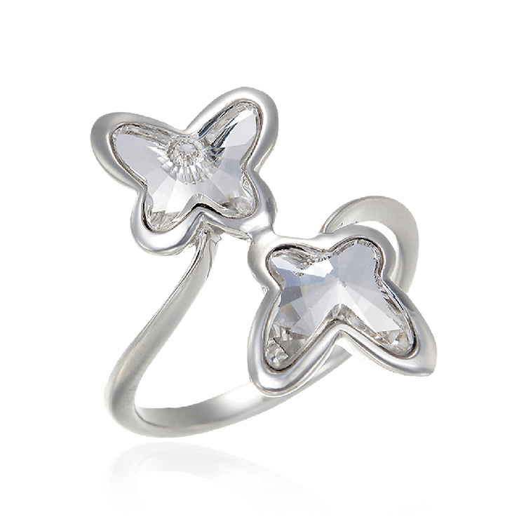 Crystal Butterfly Twin Ring