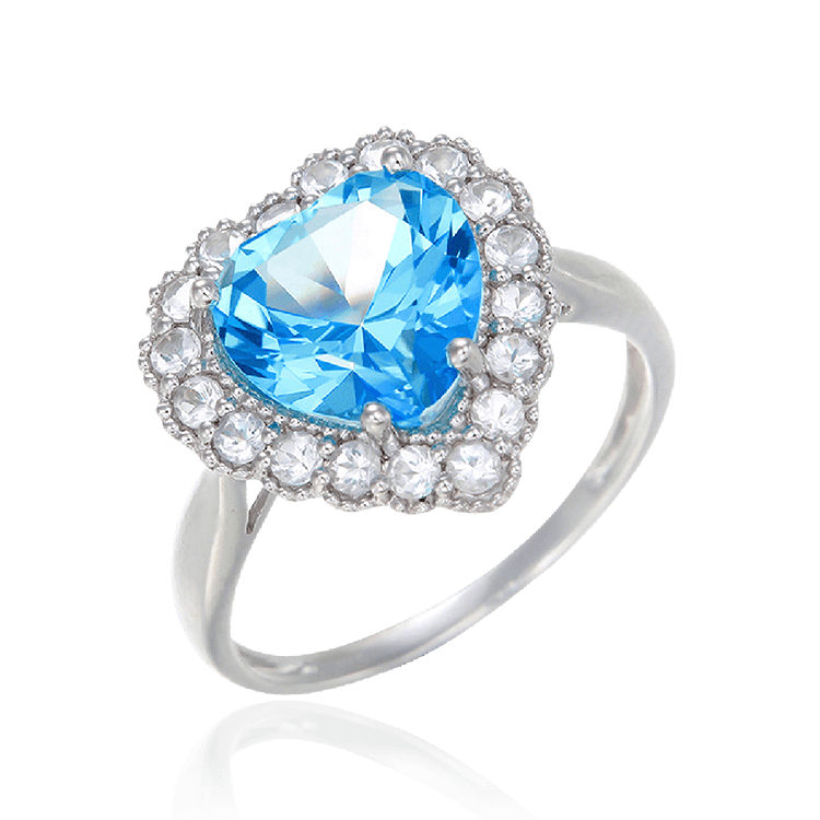 Sparkling Heart Passion Topaz Ring with Halo
